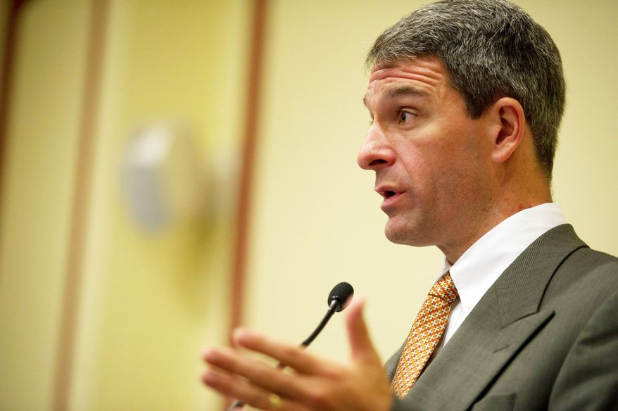 "Virginia Attorney General Kenneth T. Cuccinelli II determined that while there is no ""express authority"" allowing the governor to transfer administration of the Dulles Toll Road, various statutes give the executive branch broad flexibility to provide for public transportation. (Rod Lamkey Jr./The Washington Times)"