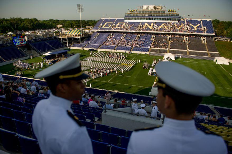 Graduation is held for the U.S. Navy Academy's class of 2012 at the Navy-Marine Corps Stadium, Annapolis, Md., Tuesday, May 29, 2012. (Andrew Harnik/The Washington)