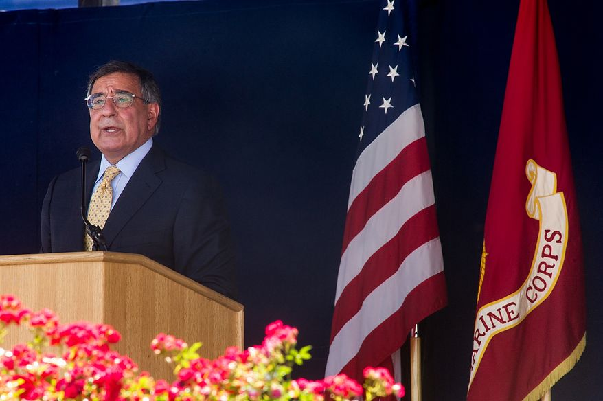 Secretary of Defense Leon E. Panetta speaks during the graduation ceremony for the U.S. Naval Academy's class of 2012 at the Navy-Marine Corps Stadium in Annapolis on Tuesday, May 29, 2012. (Andrew Harnik/The Washington Times)