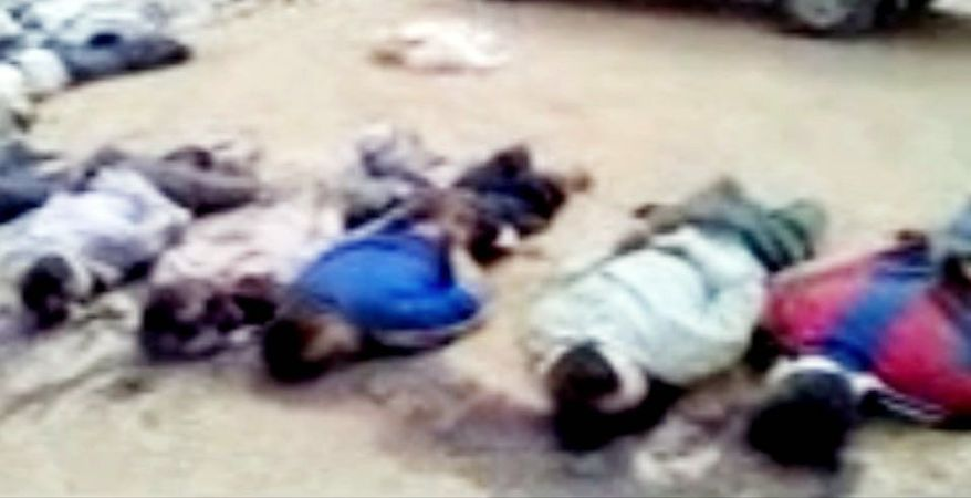 This image purports to show 13 blindfolded and handcuffed bodies on the ground in Deir el-Zour, Syria. U.N. observers discovered 13 bound corpses in eastern Syria, many of them apparently shot execution-style, the monitoring mission said Wednesday. The announcement comes days after a massacre in Houla, in the central Homs province, which killed more than 100 people and prompted worldwide condemnation against the regime of President Bashar Assad.