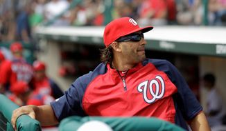 "Outfielder Michael Morse said of the players on the Class A Potomac Nationals, ""This is where the guys here will learn who they are."" Morse appeared in two games with Potomac on a rehabilitation assignment. (Associated Press)"