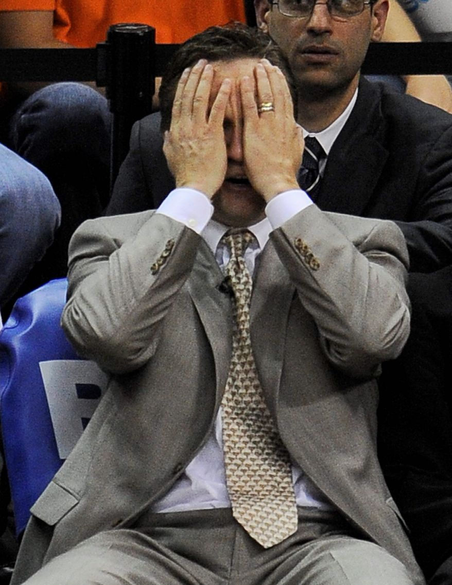 Oklahoma City Thunder coach Scott Brooks reacts on the bench against the San Antonio Spurs during the second half of Game 2 in their NBA basketball Western Conference finals playoff series, Tuesday, May 29, 2012, in San Antonio. (AP Photo/Darren Abate)