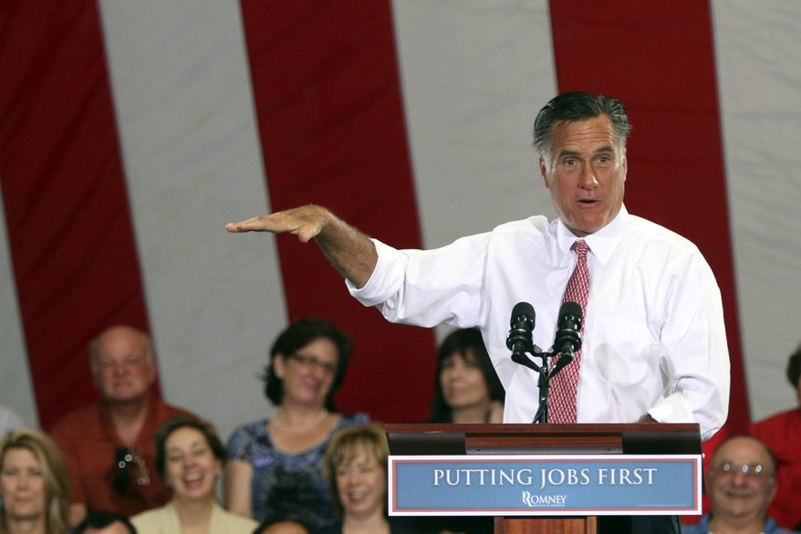 ** FILE ** Republican presidential candidate and former Massachusetts Gov. Mitt Romney speaks May 29, 2012, during a campaign event at the Somers Furniture warehouse in Las Vegas. (Associated Press)