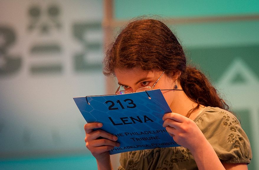 Lena Greenberg, 14, of Philadelphia, Pa., waits on stage to spell her word during the preliminary rounds of the 2012 Scripps National Spelling Bee at the Gaylord National Resort and Convention Center in National Harbor, Md., Wednesday, May 30, 2012. This year, 278 spellers from around the United States and all walks of life will compete for the title of 2012 Scripps National Spelling Bee champion. (Rod Lamkey Jr/The Washington Times)