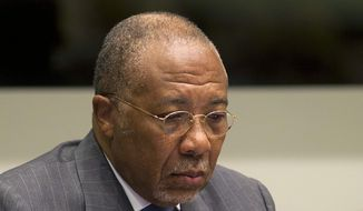 Former Liberian President Charles Taylor waits for the start of his sentencing hearing in Leidschendam, near The Hague, Netherlands, Wednesday, May 16, 2012. (AP Photo/Evert-Jan Daniels, Pool)