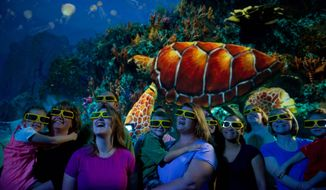 This undated image shows a new attraction at SeaWorld Orlando featuring sea turtles. The exhibit, which includes live sea turtles as well as a 3-D movie about the endangered creatures, opened in April and is one of a number of new attractions at theme parks around the country this season. (AP Photo/SeaWorld Orlando)