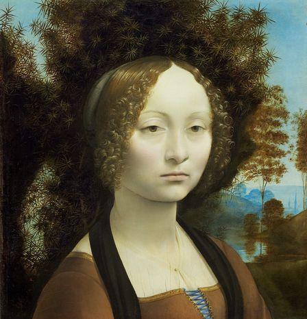 "Unlike Elvis, Leonardo da Vinci's portrait of ""Ginevra de Benci"" (circa 1474-1478), at the National Gallery of Art, never leaves the building. (Ailsa Mellon Bruce Fund)"