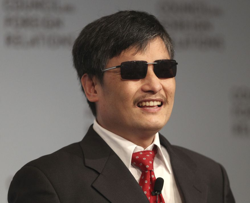 Chen Guangcheng speaks May 31, 2012, at the Council on Foreign Relations in New York. Guangcheng is a blind Chinese activist whose dramatic escape earlier in the month from house arrest culminated in a flight to the U.S. (Associated Press)