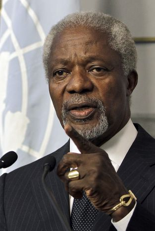 Kofi Annan, the U.N.-Arab League Joint Special Envoy for Syria, speaks June 1, 2012, during a press conference after his meeting with Lebanese Prime Minister Najib Mikati at the governmental palace in Beirut. (Associated Press)