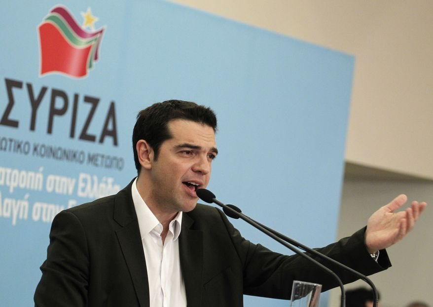 Alexis Tsipras, head of Greece's Radical Left Coalition, presents his party's economic policies in Athens on June 1, 2012. (Associated Press)