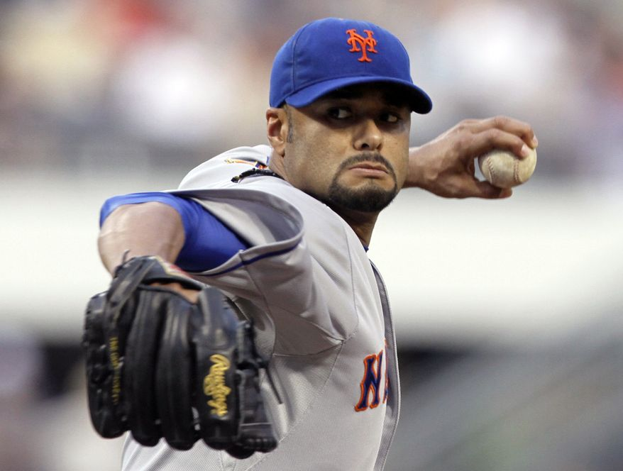 FILE - In this May 21, 2012, file photo, New York Mets starting pitcher Johan Santana throws against the Pittsburgh Pirates in the first inning of the baseball game in Pittsburgh. Santana threw the first no-hitter in Mets' history on Friday, June 1, 2012. (AP Photo/Keith Srakocic, File)