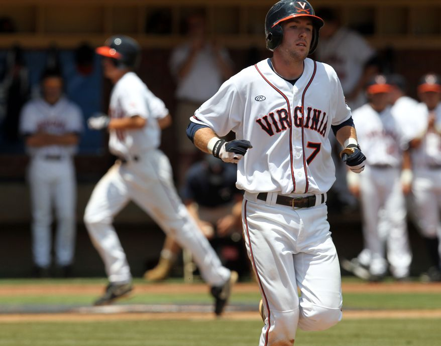 Branden Cogswell (7) had four RBI in Virginia's 9-1 win over Army in the NCAA tournament regional game Saturday, June 2, 2012 at Davenport Field in Charlottesville, Va. (AP Photo/The Daily Progress, Andrew Shurtleff)