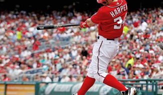 Rookie Bryce Harper, who crushed a home run yesterday into the upper deck, has been one of the few Nationals who has proved reliable at the plate. (Associated Press)