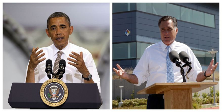 This combination of Associated Press photos shows President Obama speaking May 24, 2012, at the TPI Composites Factory, a manufacturer of wind turbine blades, in Newton, Iowa, and Republican presidential candidate Mitt Romney speaking May 31, 2012, at the Solyndra manufacturing facility in Fremont, Calif. (Associated Press)
