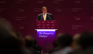 U.S. Defense Secretary Leon E. Panetta speaks at the opening of the International Institute for Strategic Studies' (IISS) 11th Asia Security Summit in Singapore on Saturday, June 2, 2012. (AP Photo/Jim Watson, Pool)