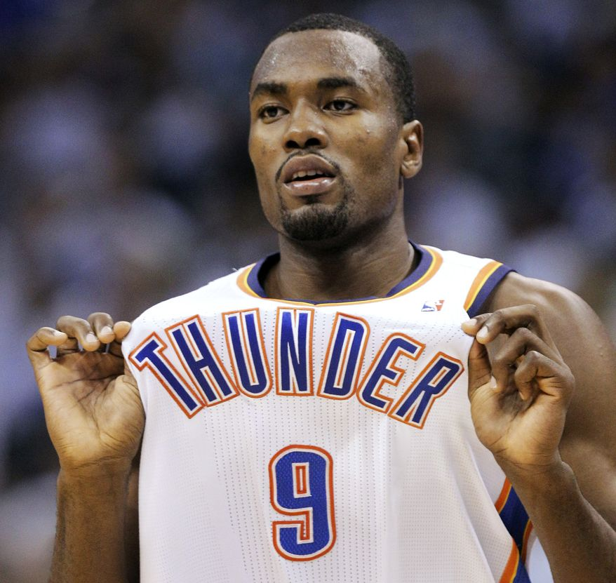 Oklahoma City Thunder forward Serge Ibaka reacts during the second half against the San Antonio Spurs in Game 4 of the NBA playoffs Western Conference finals, Saturday, June 2, 2012, in Oklahoma City. (AP Photo/Sue Ogrocki)