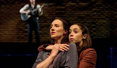 """Elizabeth A. Davis (left) and Cristin Milioti perform a scene from the musical """"Once,"""" which won four Drama Desk Awards on Sunday, including one for best musical. It is nominated for 11 Tonys. (Boneau/Bryan-Brown, Joan Marcus via Associated Press)"""