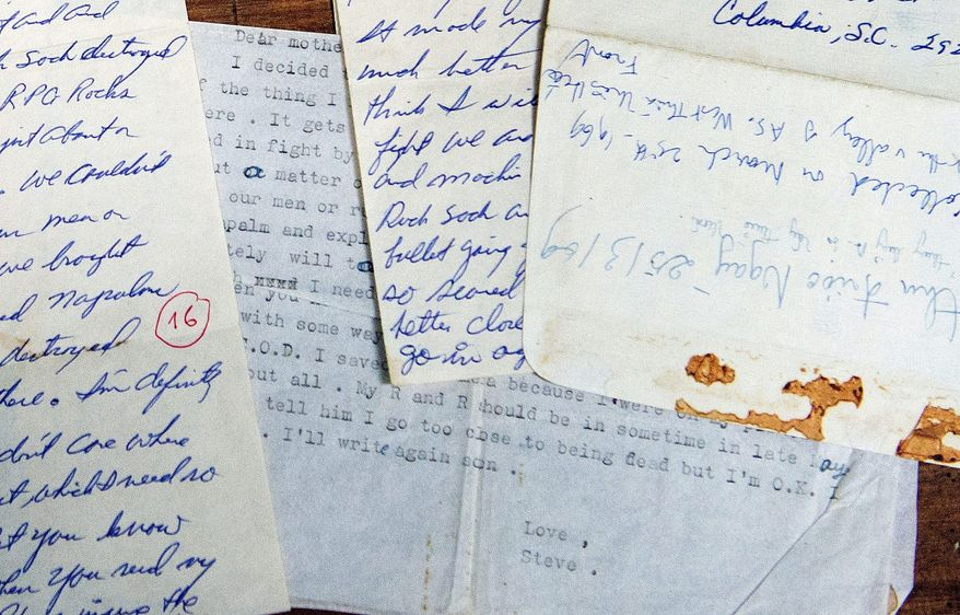 """Letters written by U.S. Army Sgt. Steve Flaherty of Columbia, S.C., are among the personal artifacts exchanged. In one, he wrote, """"I have never been so scared in my life."""" The North Vietnamese used his letters for propaganda."""