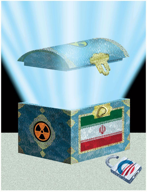 Illustration: Iran box by Alexander Hunter for The Washington Times