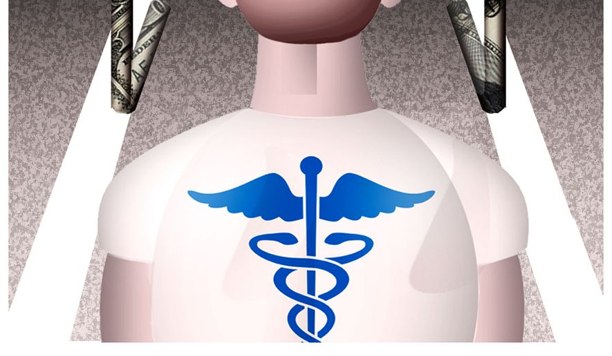 Illustration: Health care costs by Alexander Hunter for The Washington Times