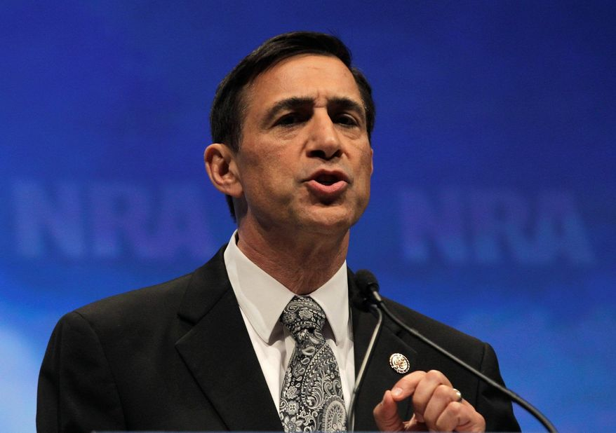 Rep. Darrell Issa, R-Calif., speaks at the National Rifle Association convention in St. Louis, Friday, April 13, 2012. (AP Photo/Michael Conroy)