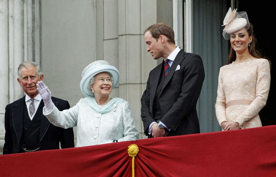 From left Britain's Prince Charles Queen Elizabeth, Prince William, and  his wife Kate Duchess of Cambridge, stand on the balcony at Buckingham Palace during the Diamond Jubilee celebrations in central London Tuesday June 5, 2012.  (AP Photo/Stefan Wermuth, Pool)