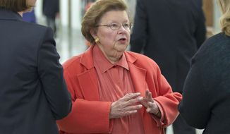 **FILE** Sen. Barbara Mikulski, Maryland Democrat, speaks March 8, 2012, on Capitol Hill in Washington. (Associated Press)