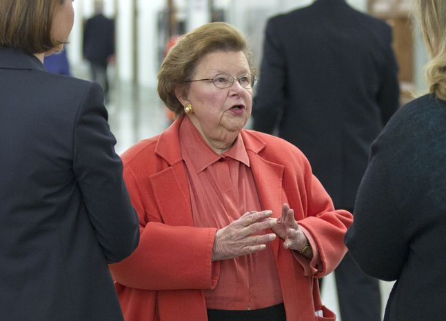 **FILE** Sen. Barbara Mikulski, Maryland Democrat, speaks March 8, 2012, on Capitol Hill in Washington. (Associated Press)