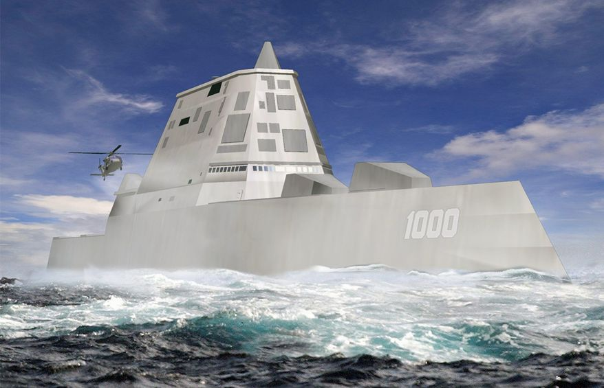 """A rendering of the DDG-1000 shows the Navy's next-generation destroyer, a super-stealthy warship that will be able to sneak up on coastlines virtually undetected and pound targets with electromagnetic """"rail guns"""" right out of a sci-fi movie. """"This is our future,"""" Adm. Jonathan W. Greenert said. (Associated Press)"""