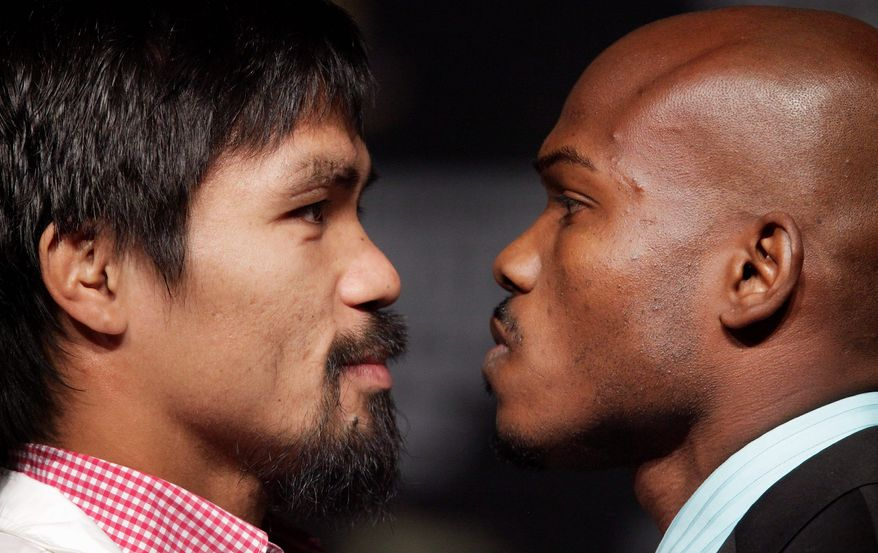 Timothy Bradley (right) has won all 28 of his fights, 12 by knockout, but he's not been in the ring with anyone of Manny Pacquiao's caliber. There are whispers in boxing circles, though, that at 33, Pacquiao is slipping. (Associated Press)