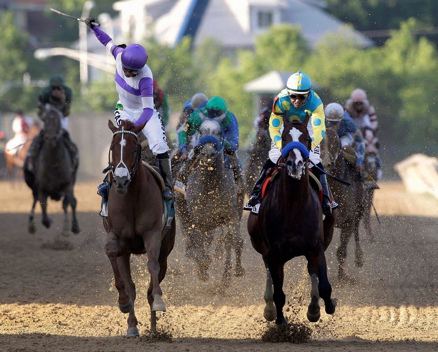 Jockey Mario Gutierrez (left) rallied to beat Bodemeister twice this time in the Preakness Stakes on May 19 to win the first two legs of the Triple Crown. The colt will bid to complete the sweep Saturday in the Belmont Stakes. (Associated Press)