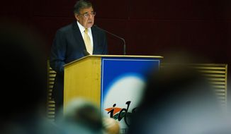 U.S. Secretary of Defense Leon E. Panetta speaks on Indo-U.S. defense relations at the Institute for Defense Studies and Analysis in New Delhi on Wednesday, June 6, 2012. (AP Photo/Jim Watson, Pool)
