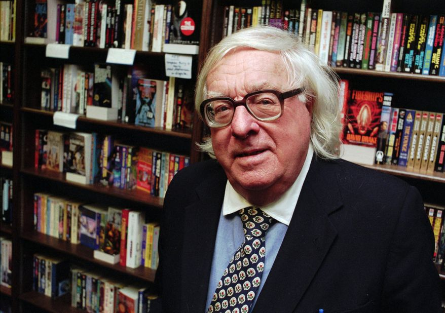 "Author Ray Bradbury appears at a signing for his book ""Quicker Than the Eye"" in Cupertino, Calif., in 1997. (Associated Press)"