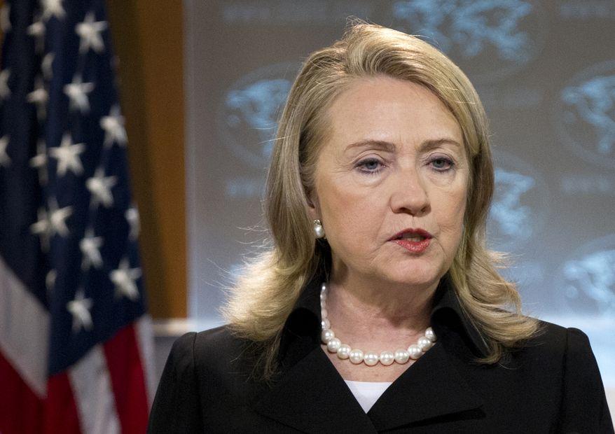 ** FILE ** Secretary of State Hillary Rodham Clinton. (Associated Press)