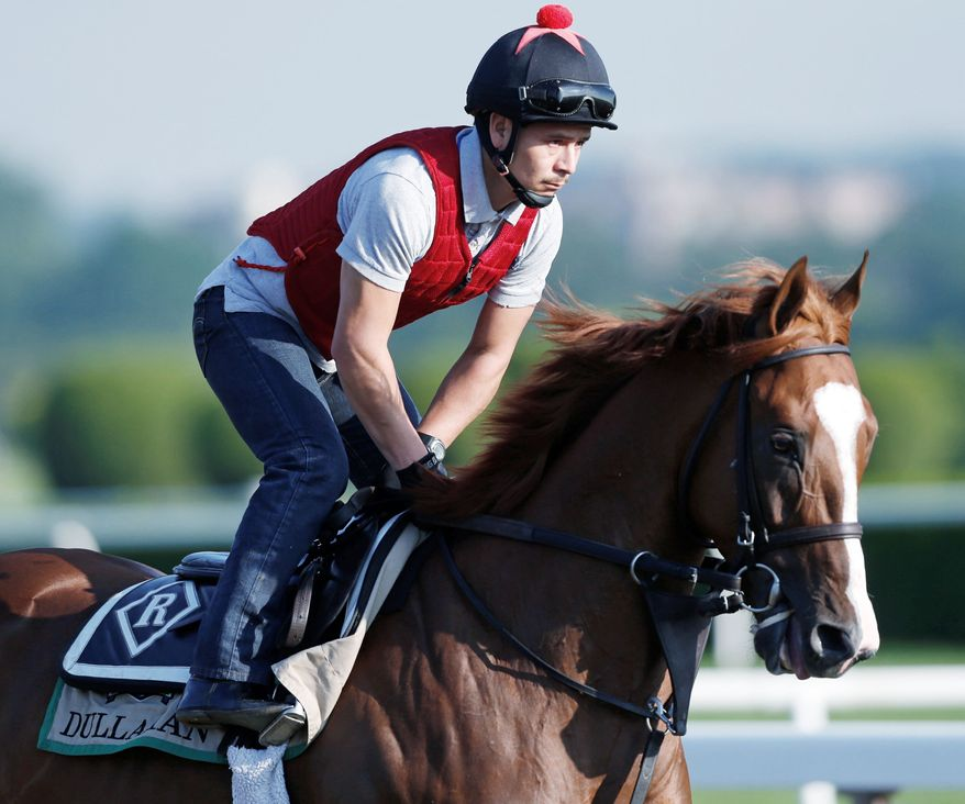 ASSOCIATED PRESS Dullahan, with exercise rider Hector Herrarte up, is the best bet to knock off I'll Have Another in the Belmont Stakes and spoil the colt's bid for Triple Crown history.
