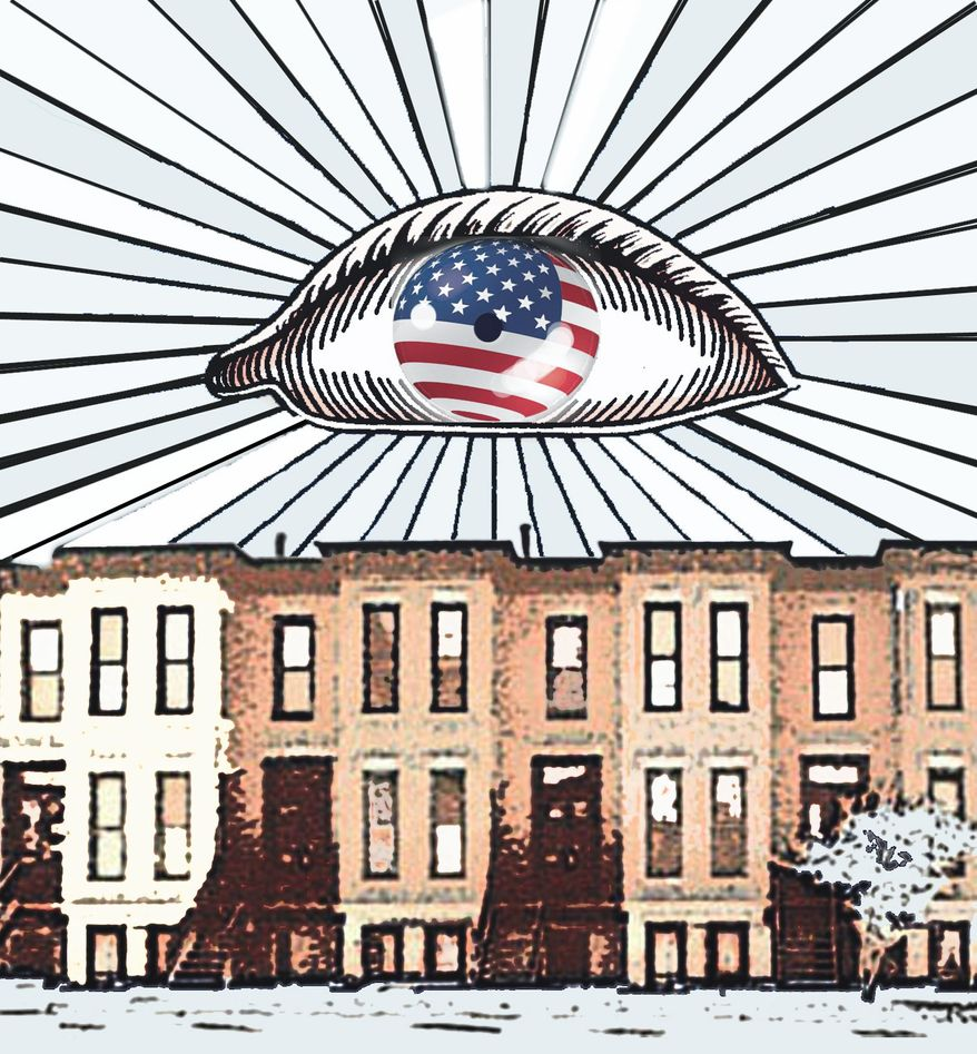 Illustration Big brother's all-seeing eye by John Camejo for The Washington Times