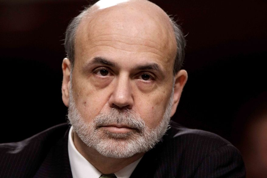 **FILE** Federal Reserve Board Chairman Ben Bernanke testifies June 7, 2012, on Capitol Hill in Washington before the Joint Economic Committee about the health of nation's economy, the slumping recovery, and the European debt crisis. (Associated Press)
