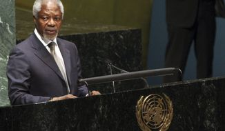 United Nations-Arab League special envoy to Syria Kofi Anan addresses the United Nations General Assembly on the situation in the Syrian Arab Republic, Thursday, June 7, 2012, at United Nations headquarters. (AP Photo/Mary Altaffer)
