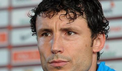 Netherlands captain Mark van Bommel addresses the media June 6, 2012, after a training session at the Euro 2012 soccer championships in Krakow, Poland. (Associated Press)