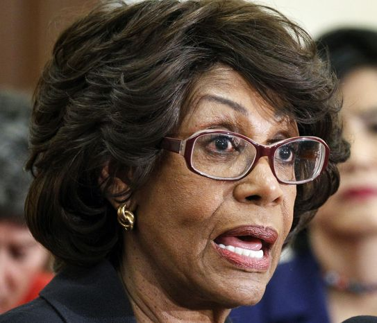 **FILE** Rep. Maxine Waters, California Democrat, speaks Feb. 8, 2011, during a news conference on Capitol Hill. (Associated Press)