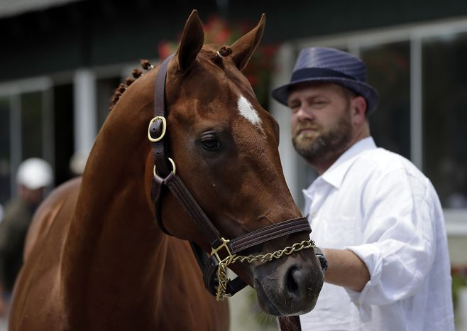 Kentucky Derby and Preakness winner I'll Have Another stands with trainer Doug O'Neill during a news conference at Belmont Park in Elmont, N.Y., on Friday, June 8, 2012. I'll Have Another's bid for a Triple Crown ended with the shocking news that the colt was out of the Belmont Stakes due to a swollen left front tendon. (AP Photo/Matt Slocum)