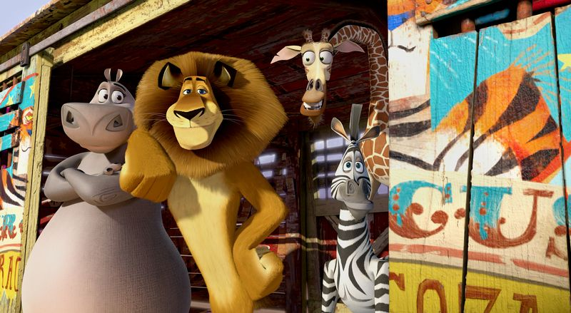 "This film image released by DreamWorks Animation shows, Gloria the Hippo, voiced by Jada Pinkett Smith, from left, Alex the Lion, voiced by Ben Stiller, Melman the Giraffe, voiced by David Schwimmer, and Marty the Zebra, voiced by Chris Rock in a scene from ""Madagascar 3: Europe's Most Wanted."" (AP Photo/DreamWorks Animation - Paramount Pictures)"