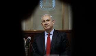 Israeli Prime Minister Benjamin Netanyahu attends the weekly Cabinet meeting in Jerusalem on Sunday, June 10, 2012. (AP Photo/Baz Ratner, Pool)