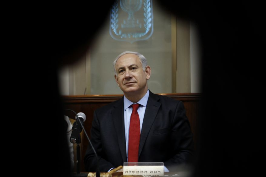 Israeli Prime Minister Benjamin Netanyahu attends the weekly Cabinet meeting in Jerusalem on Sunday, June 10, 2012. (AP Photo/Baz Ratner, Pool)