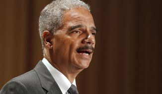 Attorney General Eric Holder speaks June 11, 2012, at the League of Women Voters National Convention in Washington. (Associated Press)
