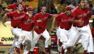 Stony Brook celebrates after defeating LSU 7-2 in Game 3 of an NCAA college baseball tournament super regional game in Baton Rouge, La., Sunday, June 10, 2012. Stony Brook advances to the College World Series. (AP Photo/Gerald Herbert)