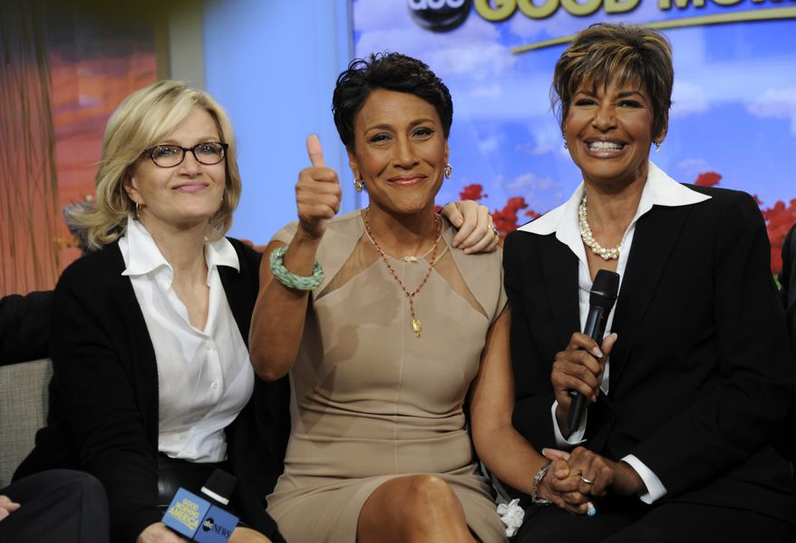 """""""Good Morning America"""" host Robin Roberts (center), with sister Sally-Ann Roberts (right) and ABC News anchor Diane Sawyer, announced on ABC's """"GMA"""" on Monday, June 11, 2012, that she has been diagnosed with myelodysplastic syndrome, a blood and bone marrow disease once known as preleukemia. (AP Photo/ABC, Ida Mae Astute)"""
