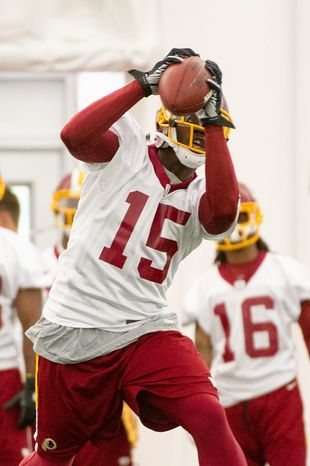 Redskins receiver Josh Morgan (15) had a team-leading 220 receiving yards for San Francisco last season when his season was ended by a broken leg. He signed a two-year contract in the offseason. (Andrew Harnik/The Washington Times)