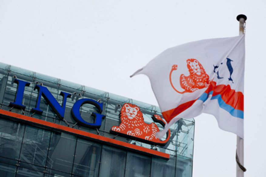 **FILE** A branded flag flies outside the ING head office in Amsterdam on Feb. 9, 2012. (Associated Press)
