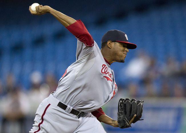 ** FILE ** Washington Nationals starting pitcher Edwin Jackson. (AP Photo/The Canadian Press, Frank Gunn)